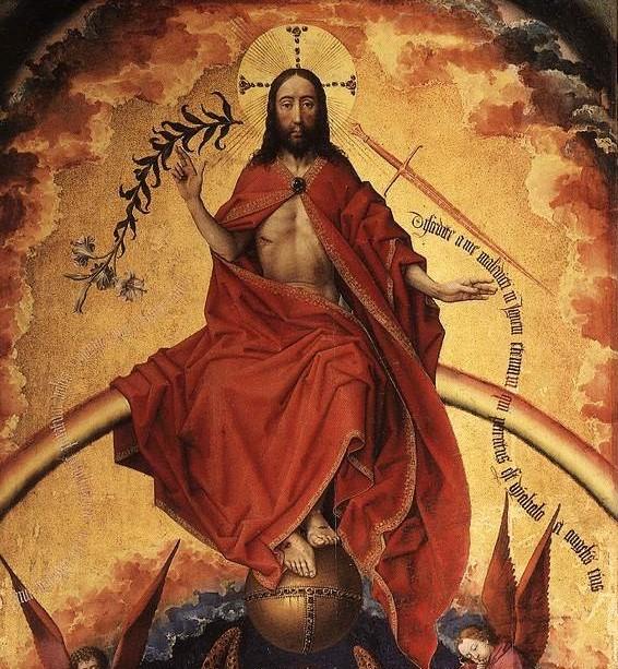 The figure of Christ from Rogier van der Weyden's Beaune Altarpiece.