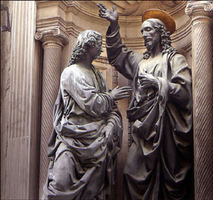 Christ and St Thomas, by Andrea del Verrocchio