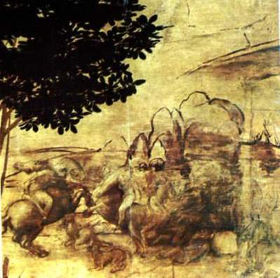 detail from Leonardo's Adoration of the Magi (horses)