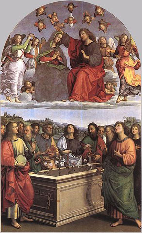 The Assumption and Coronation of the Virgin by Raphael.