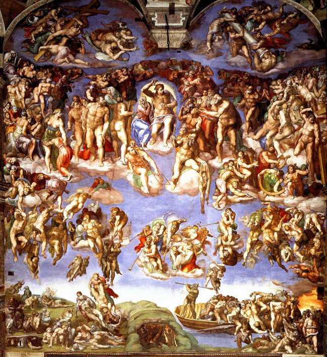 Michelangelo's Last Judgement from the South wall of the Sistine Chapel.
