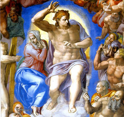 Christ the Judge detail from the Last Judgement by Michelangelo.