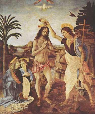 The Baptism of Christ by Andrea del Verrocchio