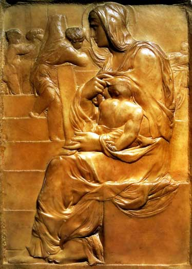Michelangelo's Madonna of the Stairs, sculpture 374x524 px