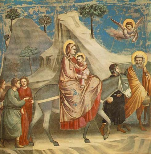 The Flight into Egypt by Giotto 490x498