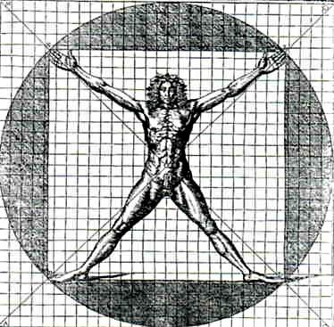 Cesare Cesariano, Vitruvian Man, Woodcut, 1521.