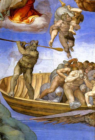 The boatman Charon, Michelangelo