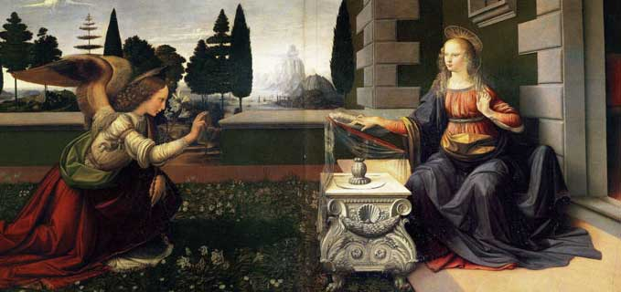 The Annunciation by Leonardo da Vinci.