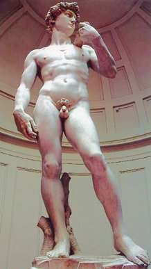 Michelangelo's David from below.