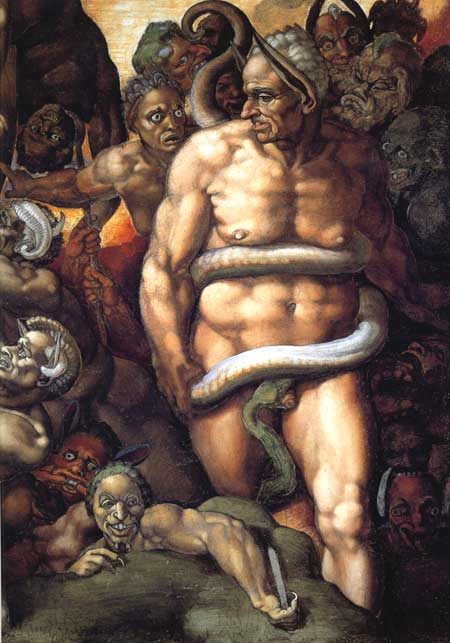Minos, judge of the Underworld by Michelangelo