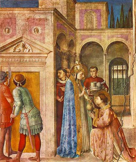 St Lawrence receiving the Treasures of the Church, Fra Angelico