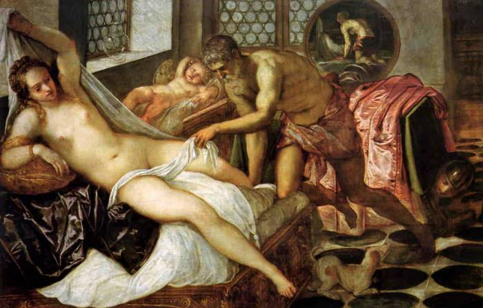 Venus, Vulcan, and Mars, c. 1555, Oil on canvas, 55 x 77 in, (140 x 197 cm) Jacopo Robusti, Tintoretto.