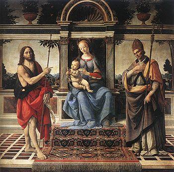 Madonna and Saints with John the Baptist. Verrocchio
