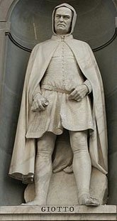 Statue of the artist Giotto outside of the Uffiz gallery in Florence 165x311