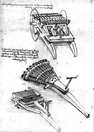 Guns with an array of barrels by Leonardo da Vinci